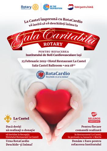 Gala Caritabilă RotaCardio: 23 Februarie 2019, ora 18:00, Castel Ballroom